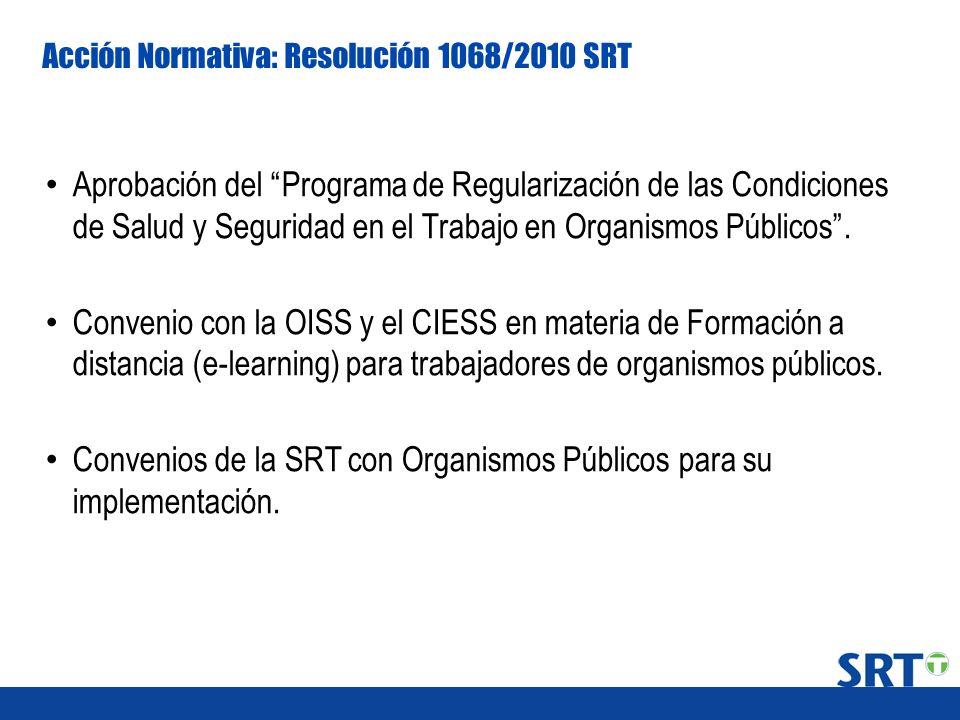 Convenios de la SRT con Organismos Públicos para su implementación.