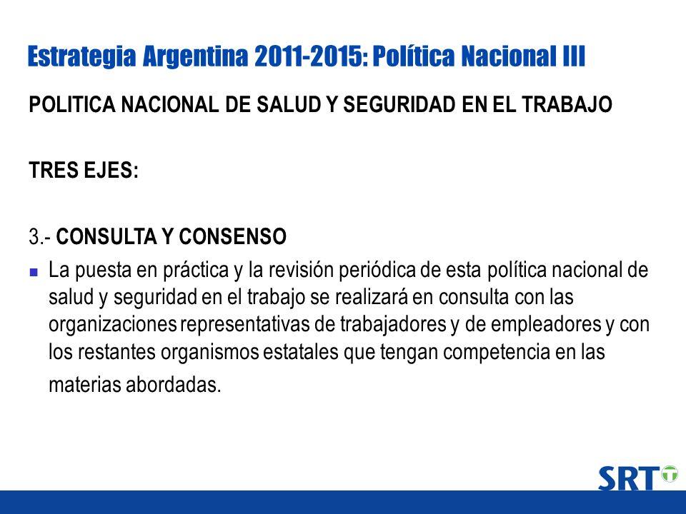 Estrategia Argentina 2011-2015: Política Nacional III