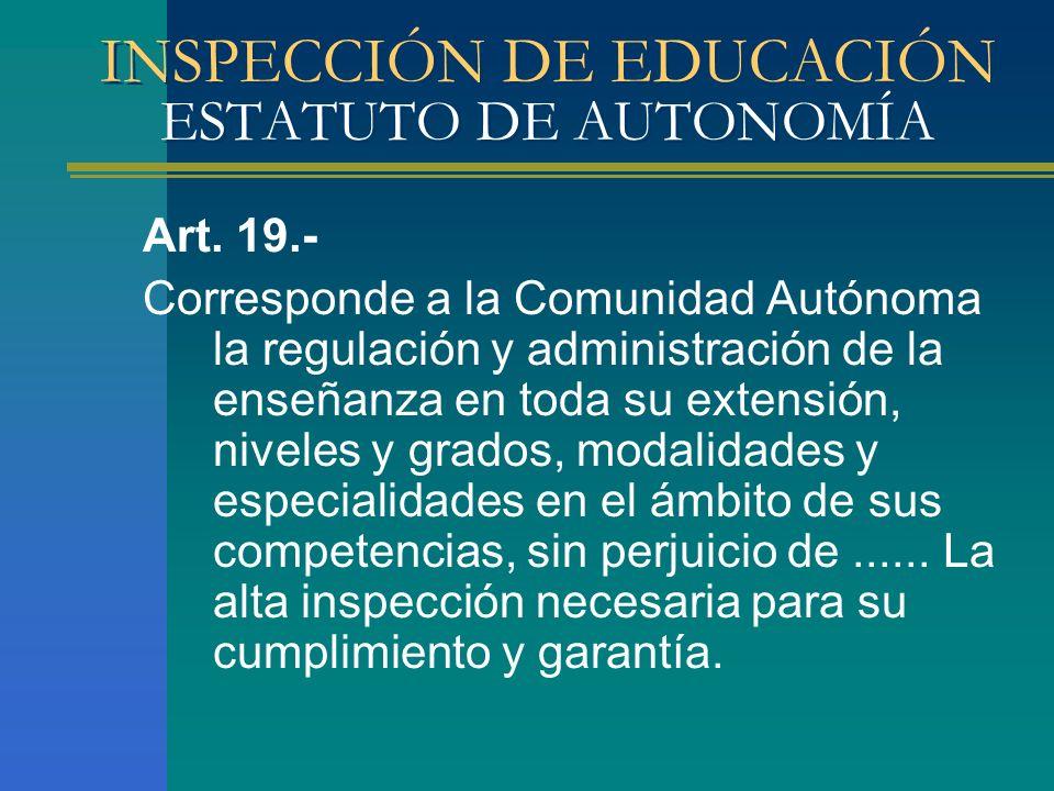 INSPECCIÓN DE EDUCACIÓN ESTATUTO DE AUTONOMÍA