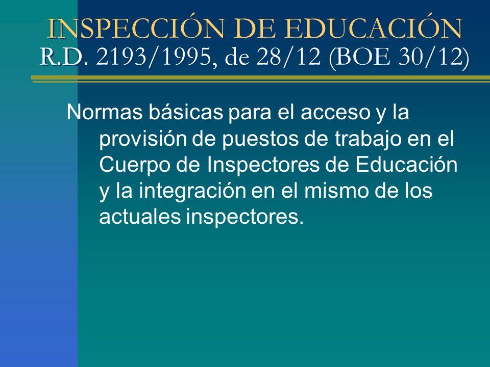 INSPECCIÓN DE EDUCACIÓN R.D. 2193/1995, de 28/12 (BOE 30/12)