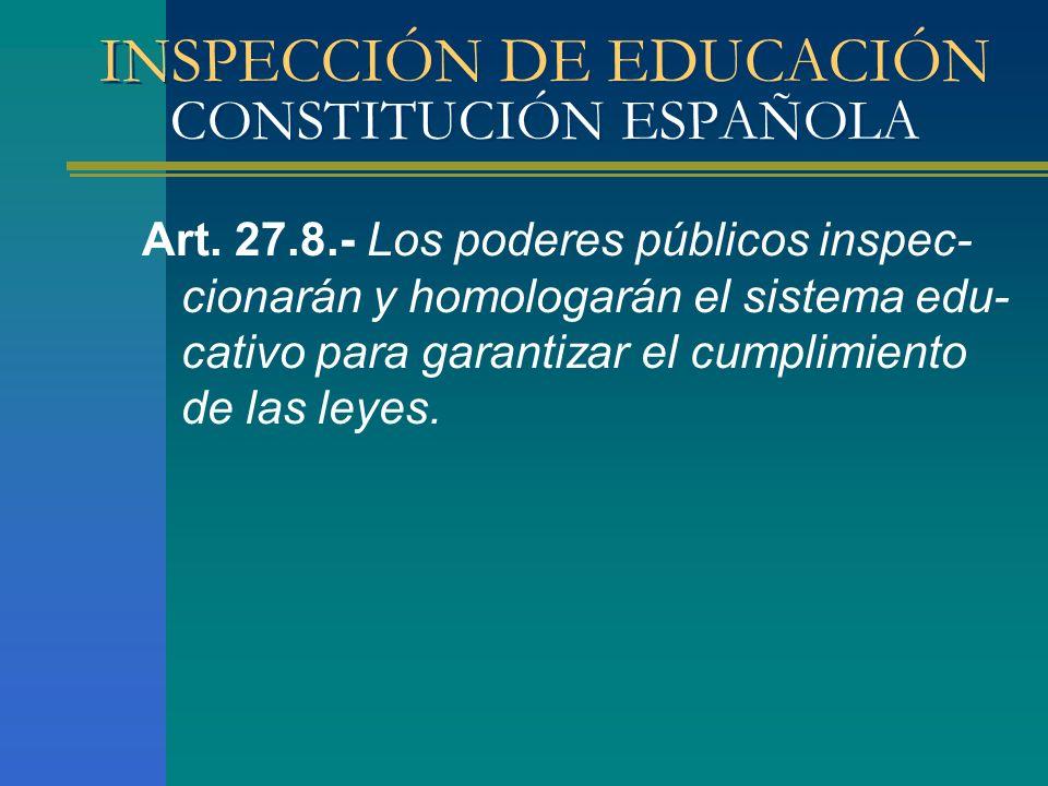 INSPECCIÓN DE EDUCACIÓN CONSTITUCIÓN ESPAÑOLA