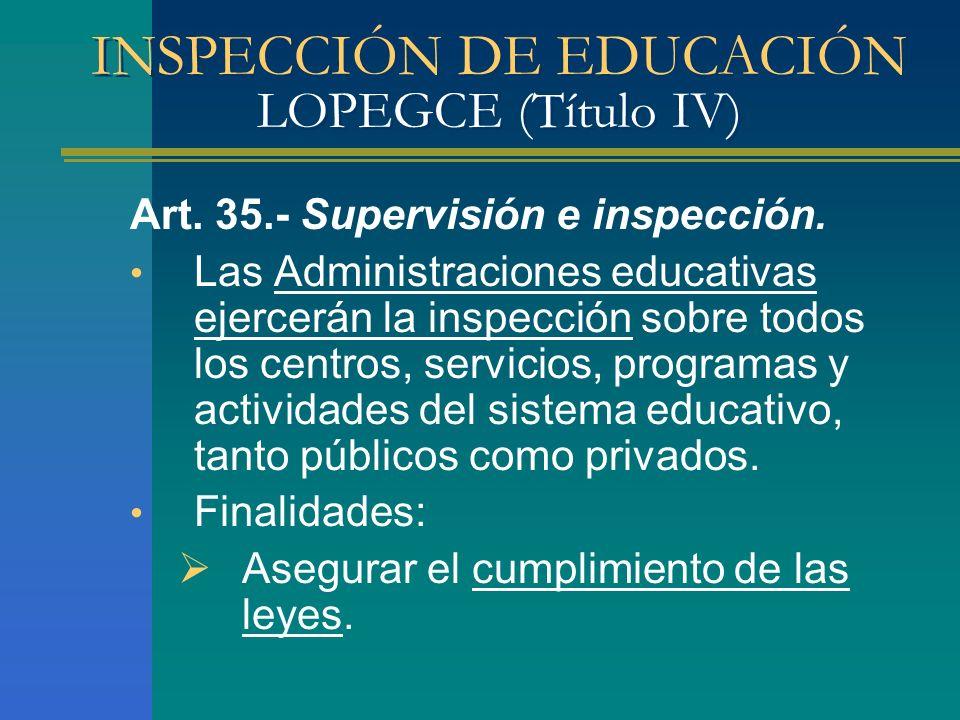 INSPECCIÓN DE EDUCACIÓN LOPEGCE (Título IV)