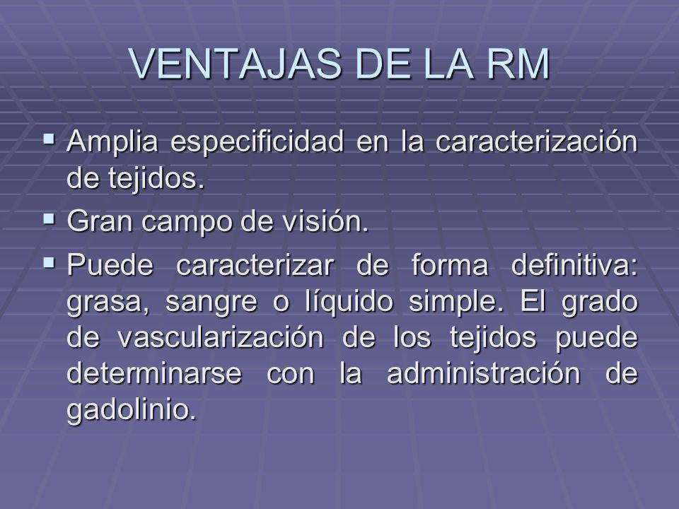 VENTAJAS DE LA RM Amplia especificidad en la caracterización de tejidos. Gran campo de visión.