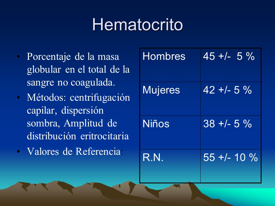 Hematocrito Porcentaje de la masa globular en el total de la sangre no coagulada.