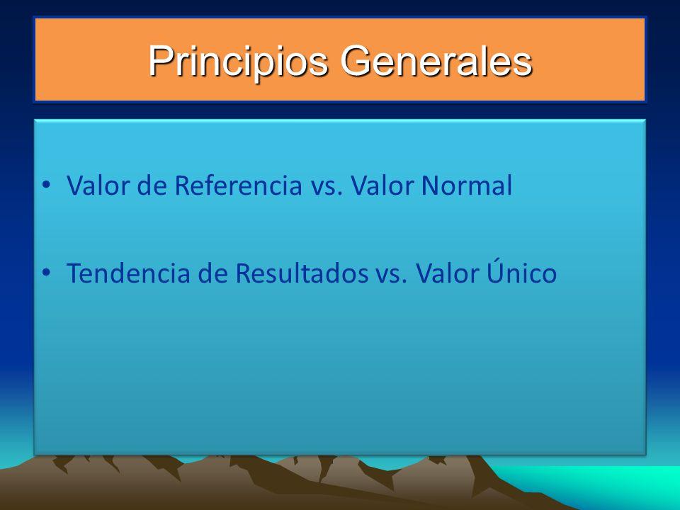 Principios Generales Valor de Referencia vs. Valor Normal