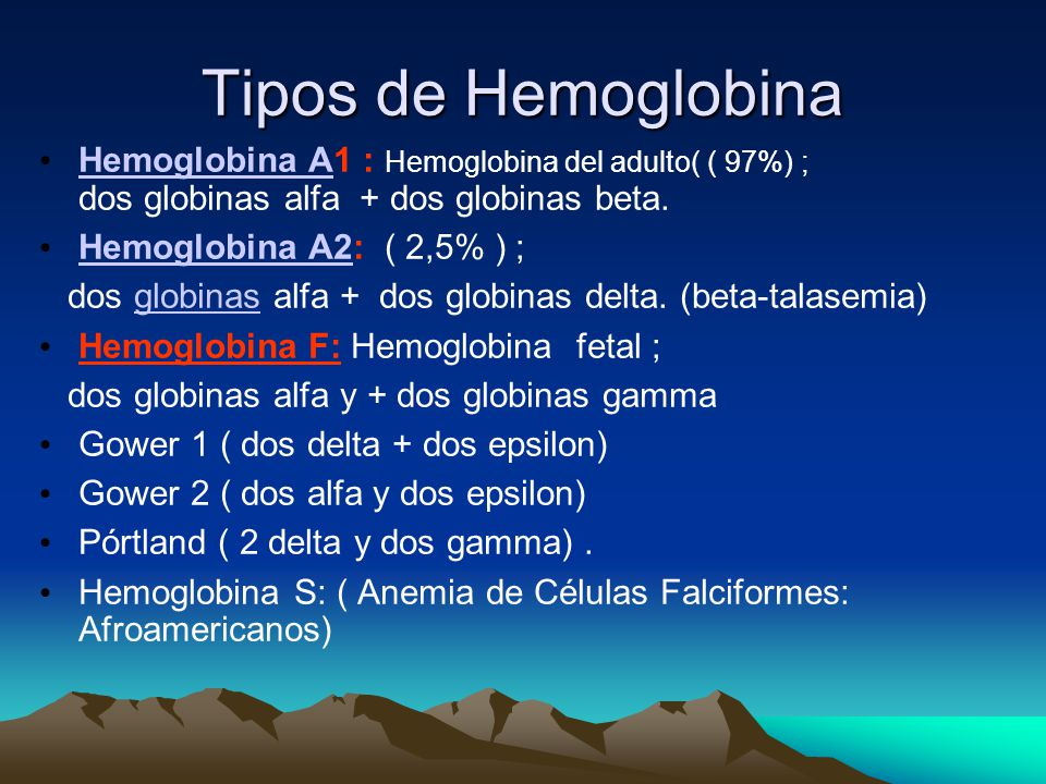Tipos de Hemoglobina Hemoglobina A1 : Hemoglobina del adulto( ( 97%) ; dos globinas alfa + dos globinas beta.