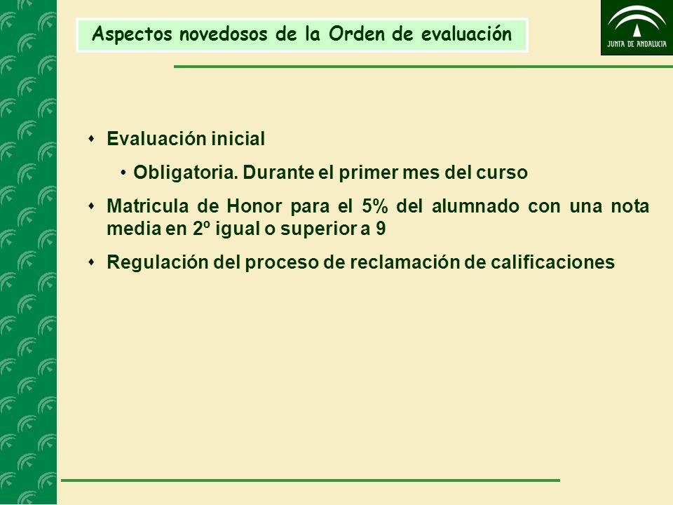 Aspectos novedosos de la Orden de evaluación