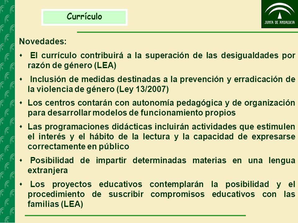 Currículo Novedades: El currículo contribuirá a la superación de las desigualdades por razón de género (LEA)