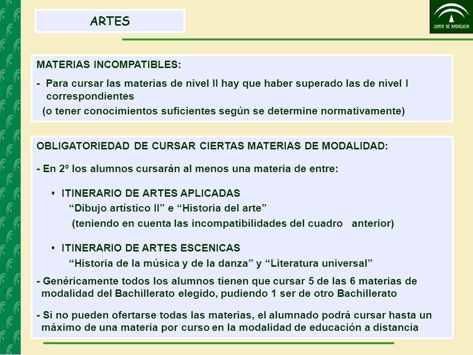 ARTES MATERIAS INCOMPATIBLES:
