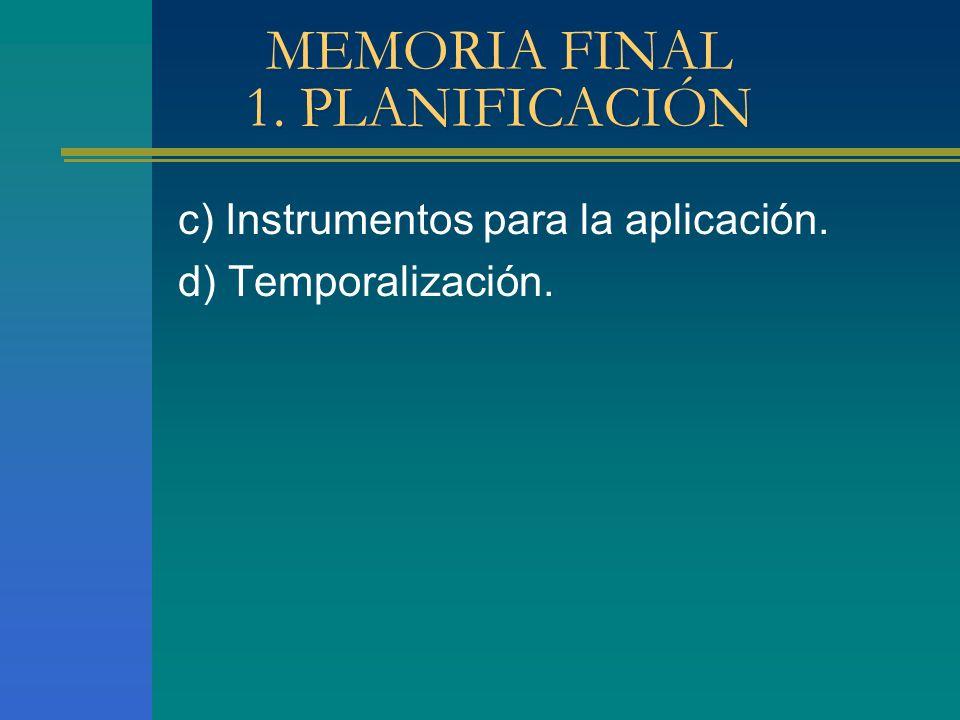 MEMORIA FINAL 1. PLANIFICACIÓN