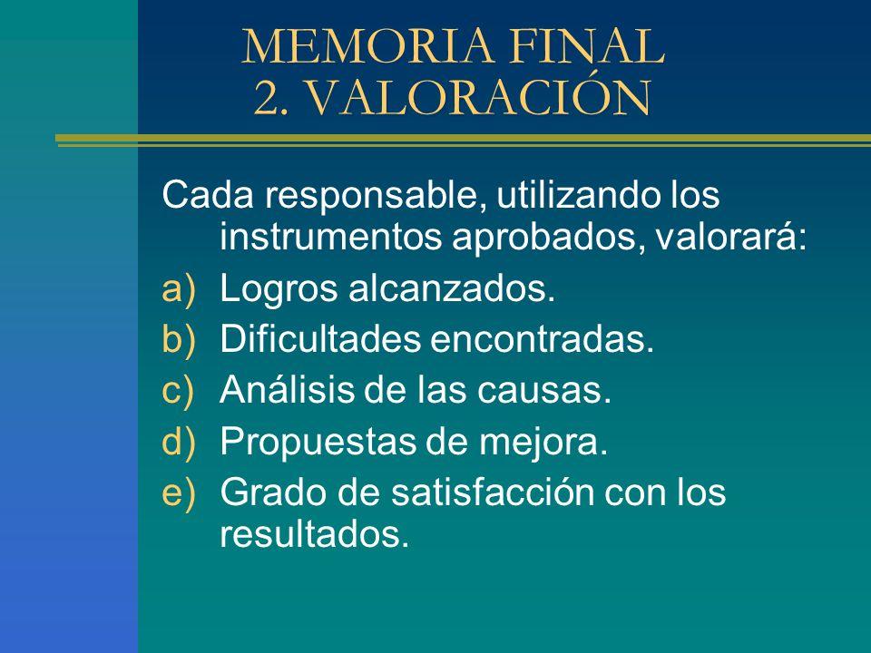 MEMORIA FINAL 2. VALORACIÓN