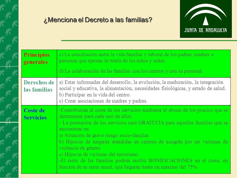 ¿Menciona el Decreto a las familias