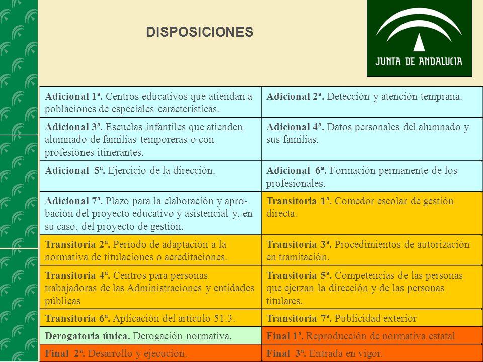 DISPOSICIONES Adicional 1ª. Centros educativos que atiendan a poblaciones de especiales características.