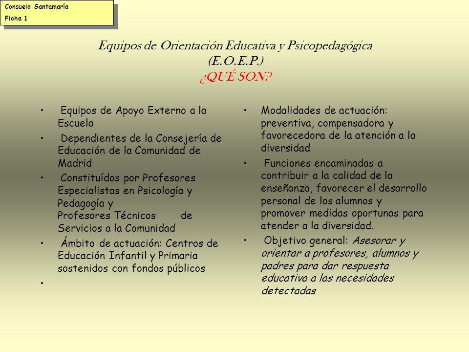 Consuelo Santamaría Ficha 1. Equipos de Orientación Educativa y Psicopedagógica (E.O.E.P.) ¿QUÉ SON