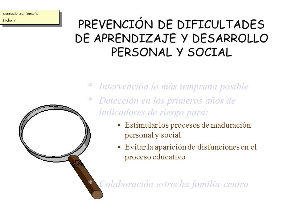 Consuelo Santamaría Ficha 7. PREVENCIÓN DE DIFICULTADES DE APRENDIZAJE Y DESARROLLO PERSONAL Y SOCIAL.