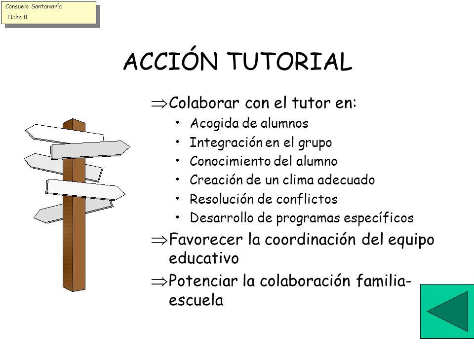 ACCIÓN TUTORIAL Colaborar con el tutor en: