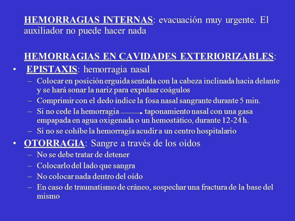 HEMORRAGIAS EN CAVIDADES EXTERIORIZABLES: EPISTAXIS: hemorragia nasal