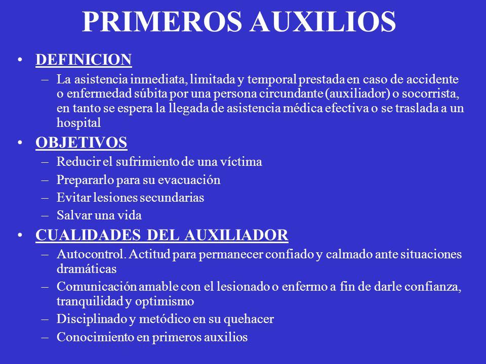 PRIMEROS AUXILIOS DEFINICION OBJETIVOS CUALIDADES DEL AUXILIADOR