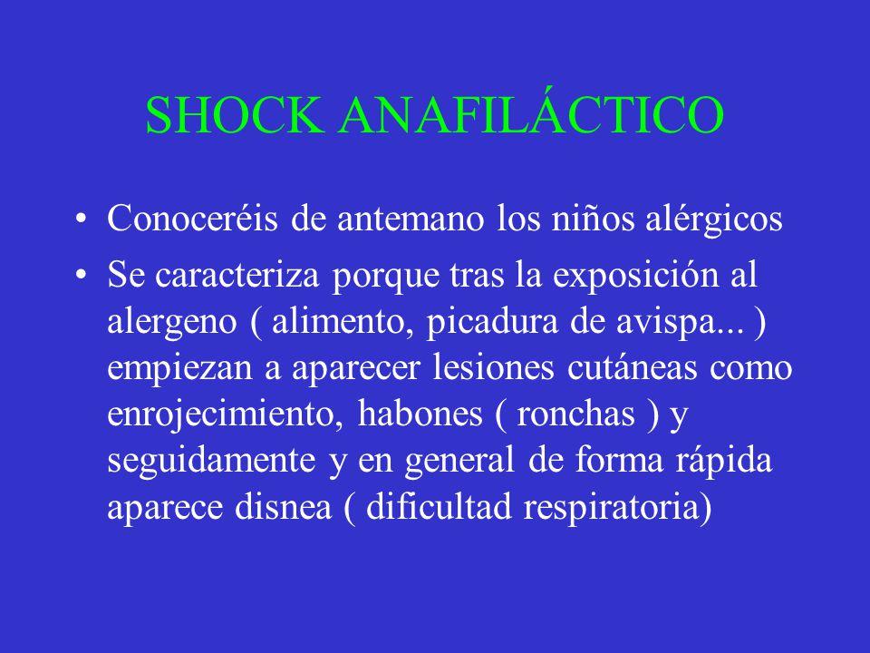 SHOCK ANAFILÁCTICO Conoceréis de antemano los niños alérgicos