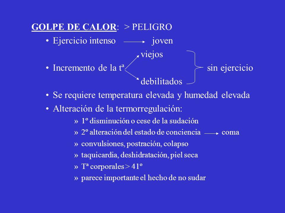 GOLPE DE CALOR: > PELIGRO Ejercicio intenso joven viejos