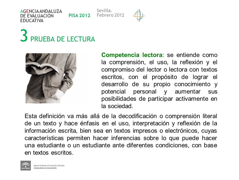 AGENCIA ANDALUZADE EVALUACIÓN. EDUCATIVA. PISA 2012. Sevilla. Febrero 2012. 3 PRUEBA DE LECTURA.