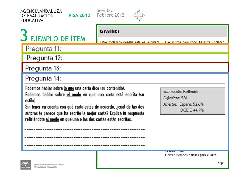 3 EJEMPLO DE ÍTEM Sevilla. AGENCIA ANDALUZA DE EVALUACIÓN PISA 2012