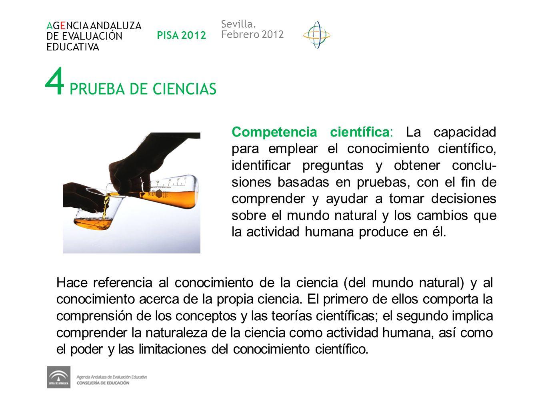 AGENCIA ANDALUZA DE EVALUACIÓN. EDUCATIVA. PISA 2012. Sevilla. Febrero 2012. 4 PRUEBA DE CIENCIAS.