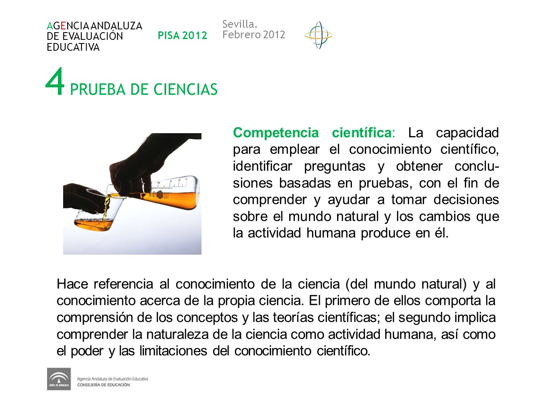 AGENCIA ANDALUZADE EVALUACIÓN. EDUCATIVA. PISA 2012. Sevilla. Febrero 2012. 4 PRUEBA DE CIENCIAS.