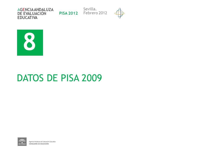 8 DATOS DE PISA 2009 Sevilla. AGENCIA ANDALUZA DE EVALUACIÓN PISA 2012