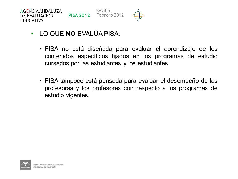 AGENCIA ANDALUZA DE EVALUACIÓN. EDUCATIVA. PISA 2012. Sevilla. Febrero 2012. LO QUE NO EVALÚA PISA: