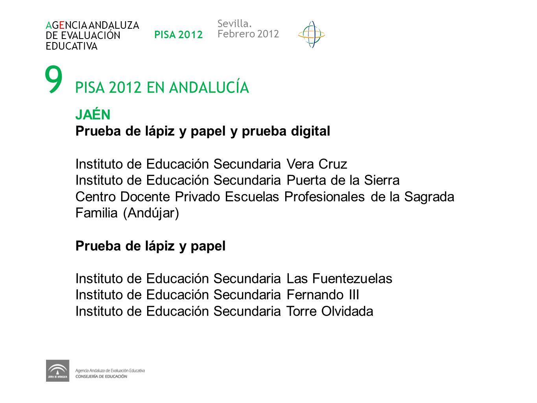 9 PISA 2012 EN ANDALUCÍA JAÉN Prueba de lápiz y papel y prueba digital