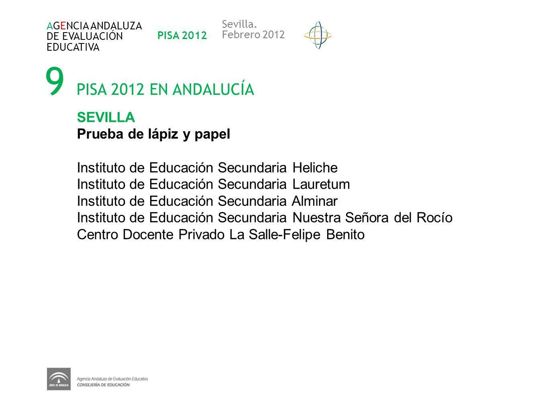 9 PISA 2012 EN ANDALUCÍA SEVILLA Prueba de lápiz y papel