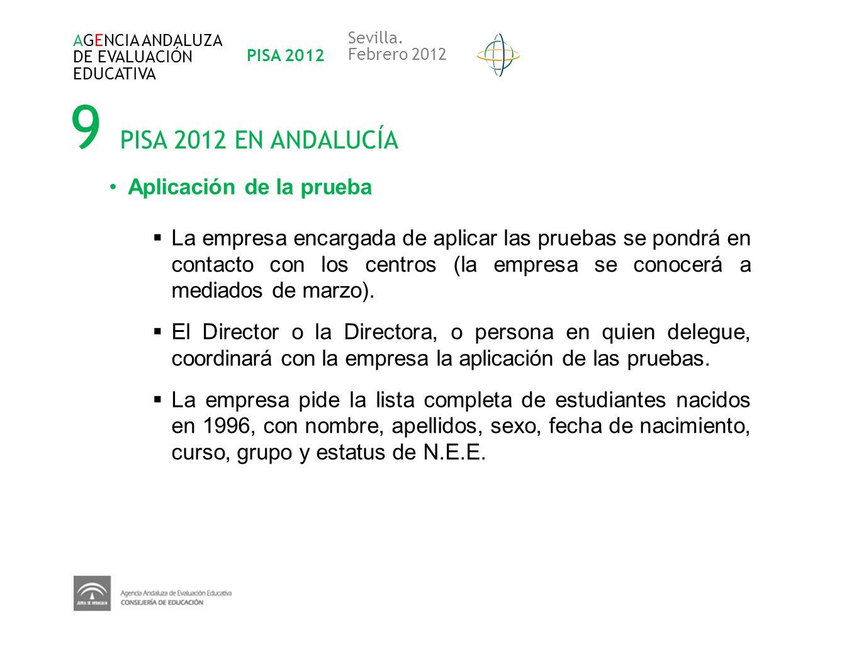 9 PISA 2012 EN ANDALUCÍA Aplicación de la prueba