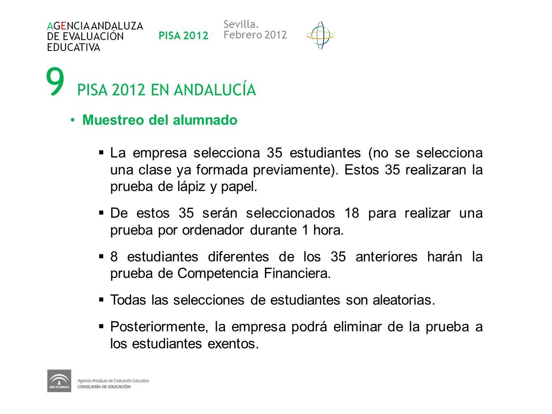 9 PISA 2012 EN ANDALUCÍA Muestreo del alumnado
