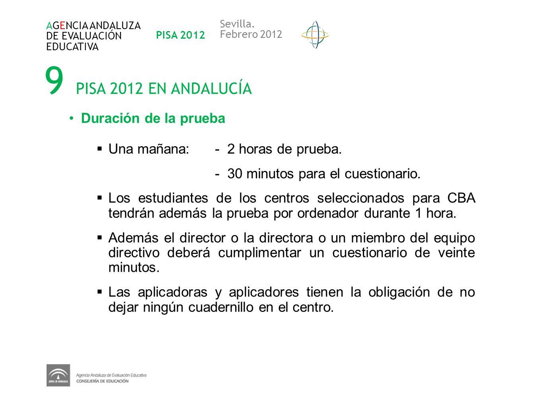 9 PISA 2012 EN ANDALUCÍA Duración de la prueba