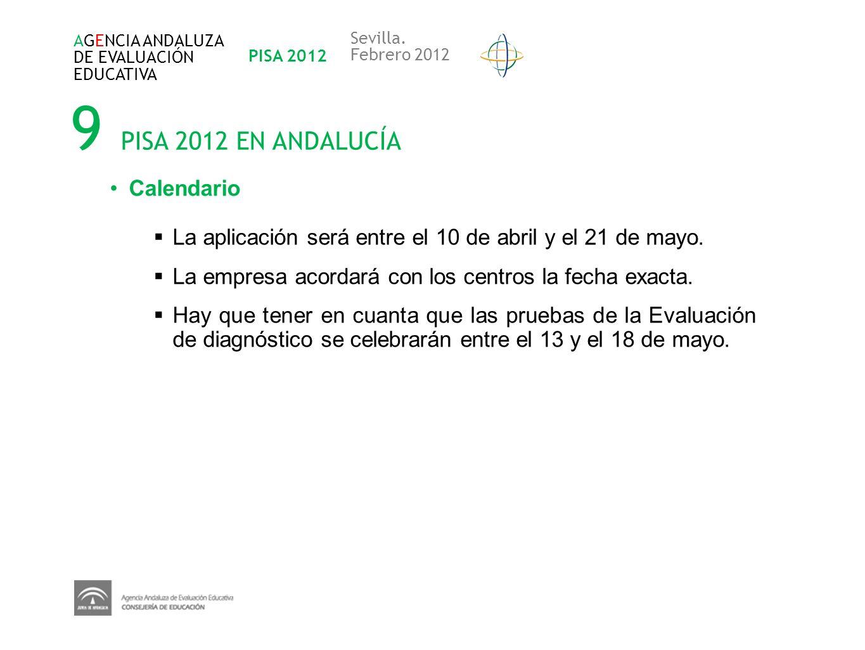 9 PISA 2012 EN ANDALUCÍA Calendario