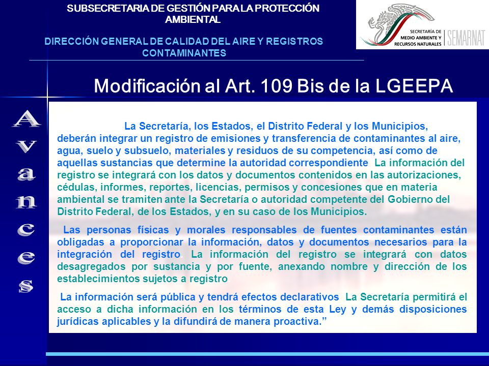 Avances Modificación al Art. 109 Bis de la LGEEPA