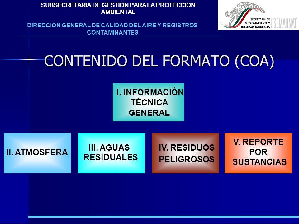 CONTENIDO DEL FORMATO (COA)