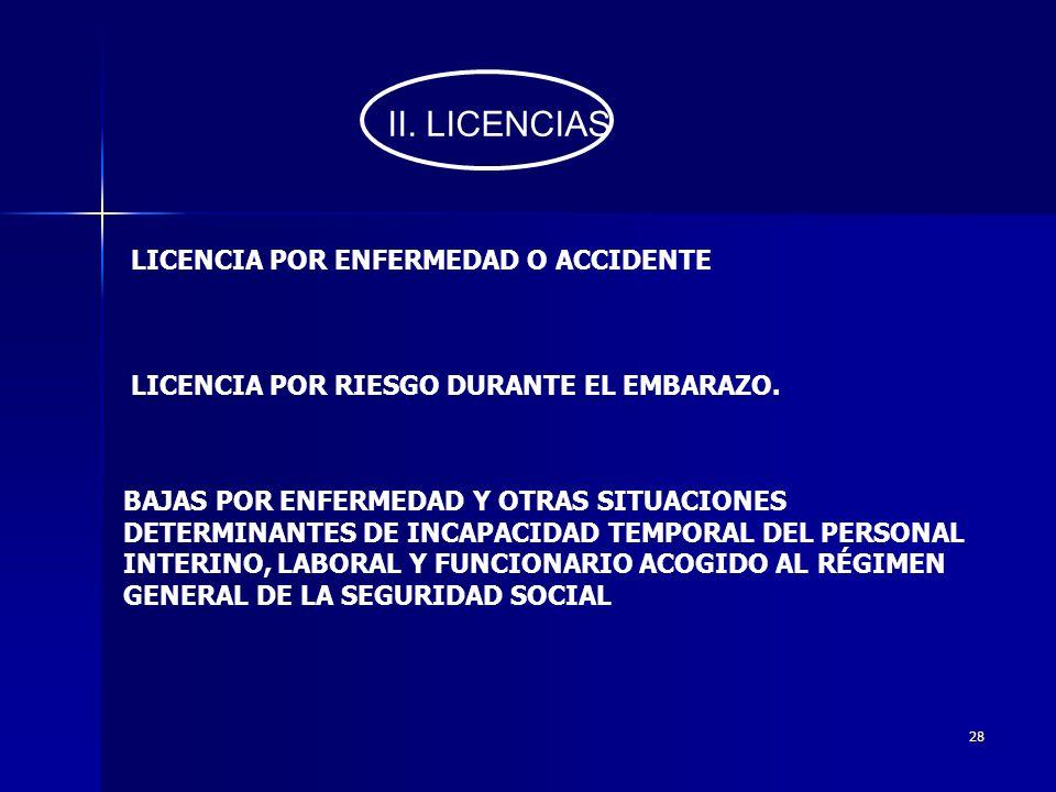II. LICENCIAS LICENCIA POR ENFERMEDAD O ACCIDENTE