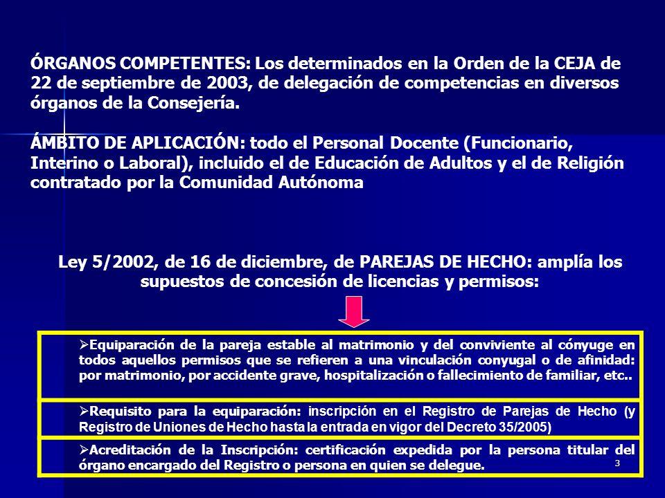 ÓRGANOS COMPETENTES: Los determinados en la Orden de la CEJA de 22 de septiembre de 2003, de delegación de competencias en diversos órganos de la Consejería.