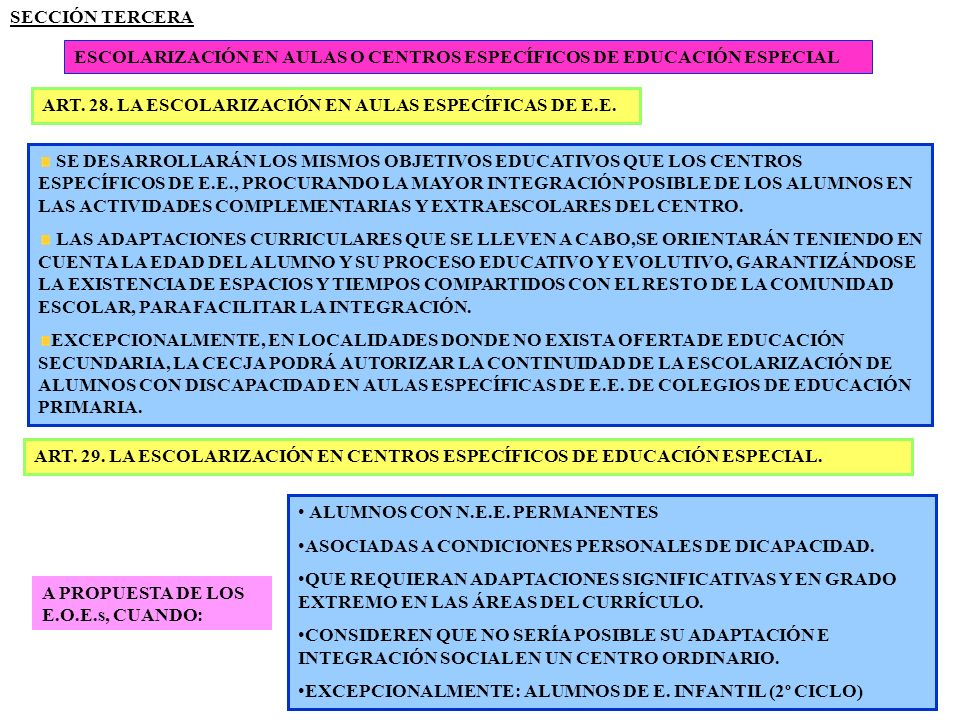 SECCIÓN TERCERA ESCOLARIZACIÓN EN AULAS O CENTROS ESPECÍFICOS DE EDUCACIÓN ESPECIAL. ART. 28. LA ESCOLARIZACIÓN EN AULAS ESPECÍFICAS DE E.E.