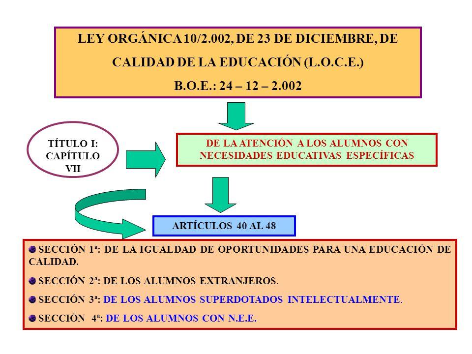 LEY ORGÁNICA 10/2.002, DE 23 DE DICIEMBRE, DE