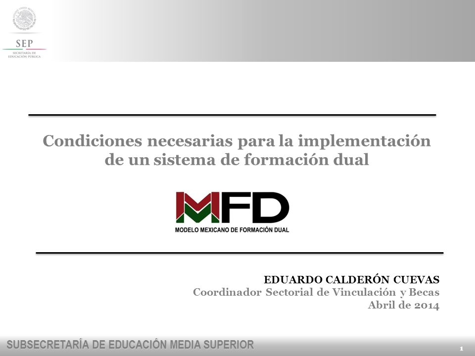 Condiciones necesarias para la implementación de un sistema de formación dual