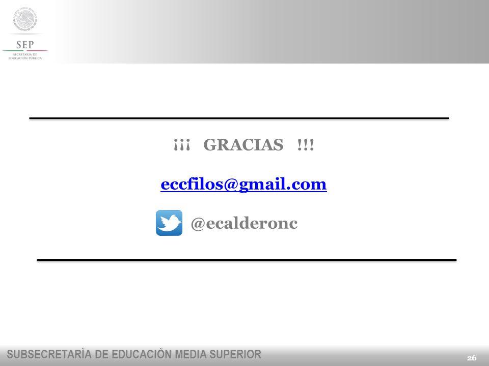 ¡¡¡ GRACIAS !!! eccfilos@gmail.com @ecalderonc