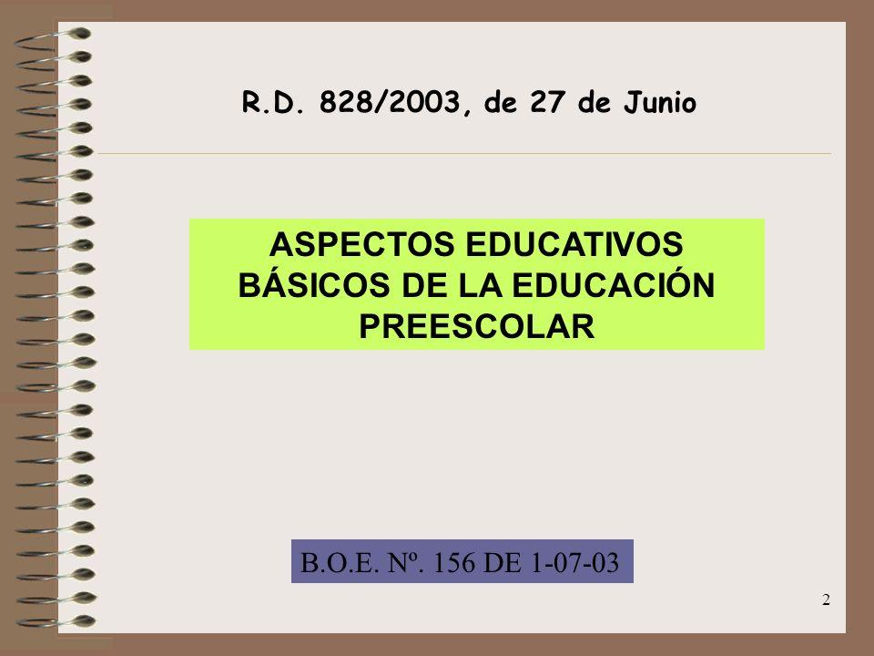ASPECTOS EDUCATIVOS BÁSICOS DE LA EDUCACIÓN PREESCOLAR