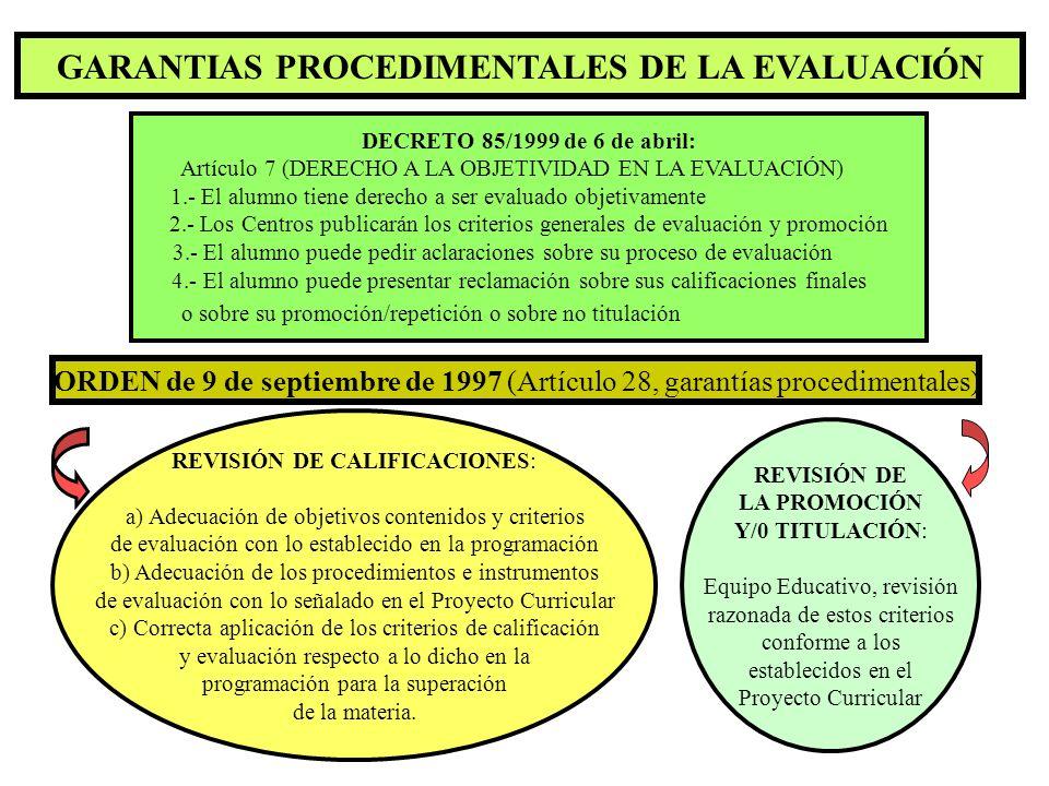 GARANTIAS PROCEDIMENTALES DE LA EVALUACIÓN