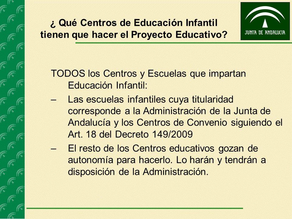¿ Qué Centros de Educación Infantil tienen que hacer el Proyecto Educativo