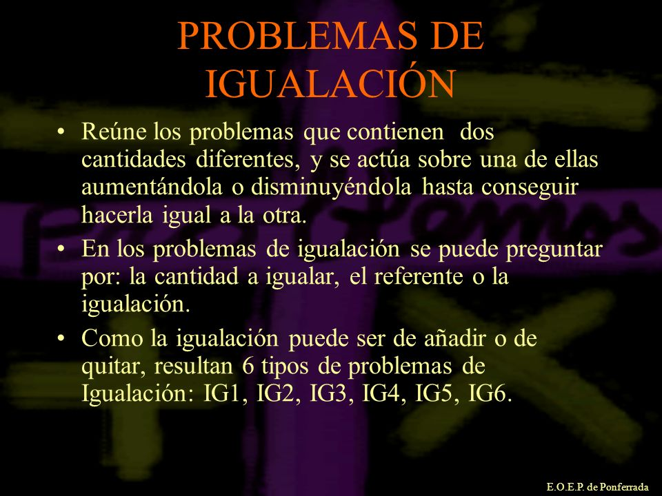 PROBLEMAS DE IGUALACIÓN
