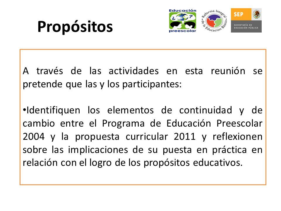 Propósitos A través de las actividades en esta reunión se pretende que las y los participantes: