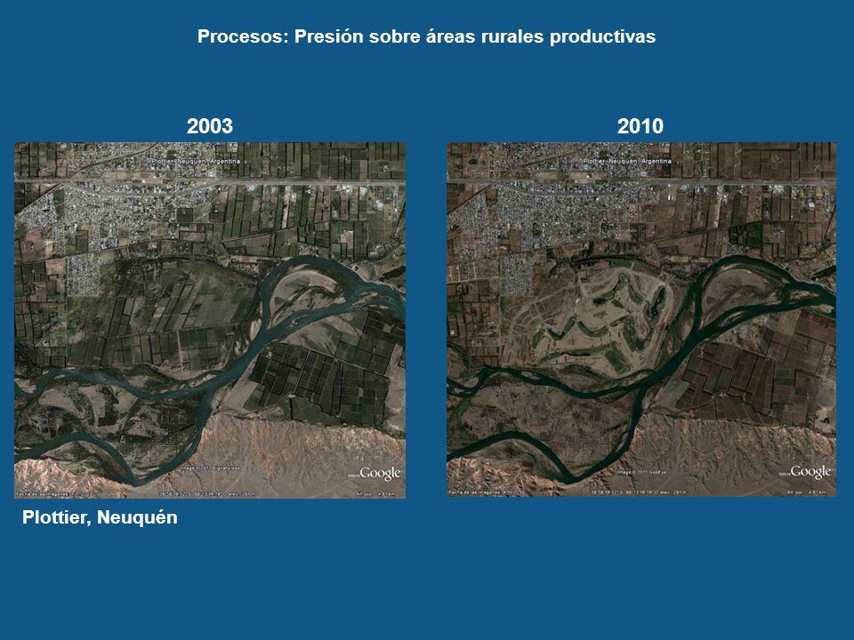 Procesos: Presión sobre áreas rurales productivas